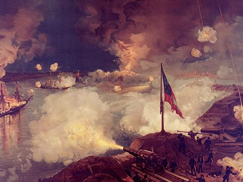 Picture of  battle between cannons on land and ships at sea, the flag flies in the picture