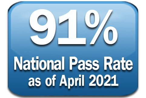 Graphic with text 90% National Pass Rate as of April 2020