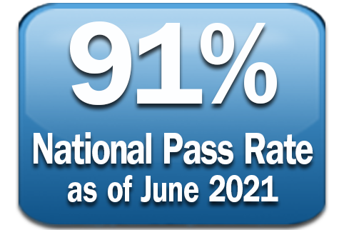 Graphic with text 90% National Pass Rate as of June 2020