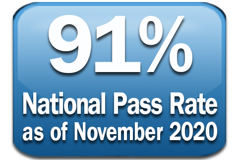 blue background with text of 91% pass rate as of November 2020