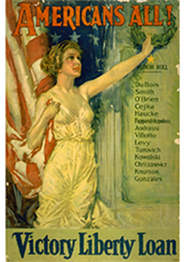 Poster with text - Americans All! Victory Liberty Loan. With a woman dressed as Lady Liberty on the poster.