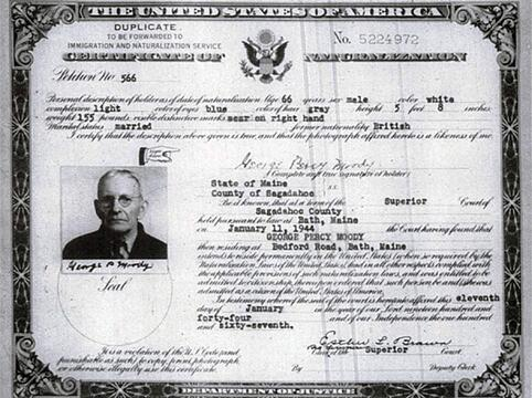 Image of a old Certificate of Naturalization