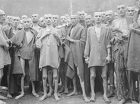 Illustration: Persecuted prisoners who survived the Holocaust, such as these starved survivors photographed in the Nazi concentration camp in Ebensee, Austria, represented some of the most vulnerable groups of refugees after World War II.  Courtesy of the National Archives.