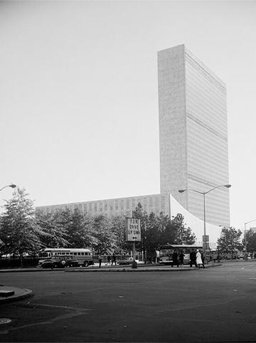 Image of The Headquarters of the United Nations, located in New York City, opened in 1952, one year after the UNHCR went into effect. *Historic American Buildings Survey, Library of Congress.