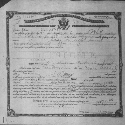 Picture of Sgt. Ludovicus Van Iersel's certificate of Naturalization
