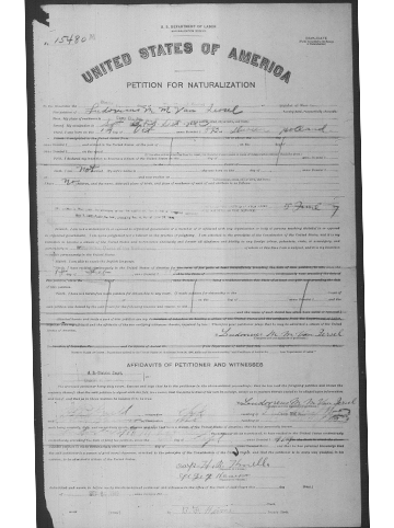 Picture of Sgt. Ludovicus Van Iersel's Petition for Naturalization
