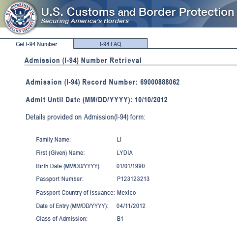 Sample electronic Form I-94 issued from CBP