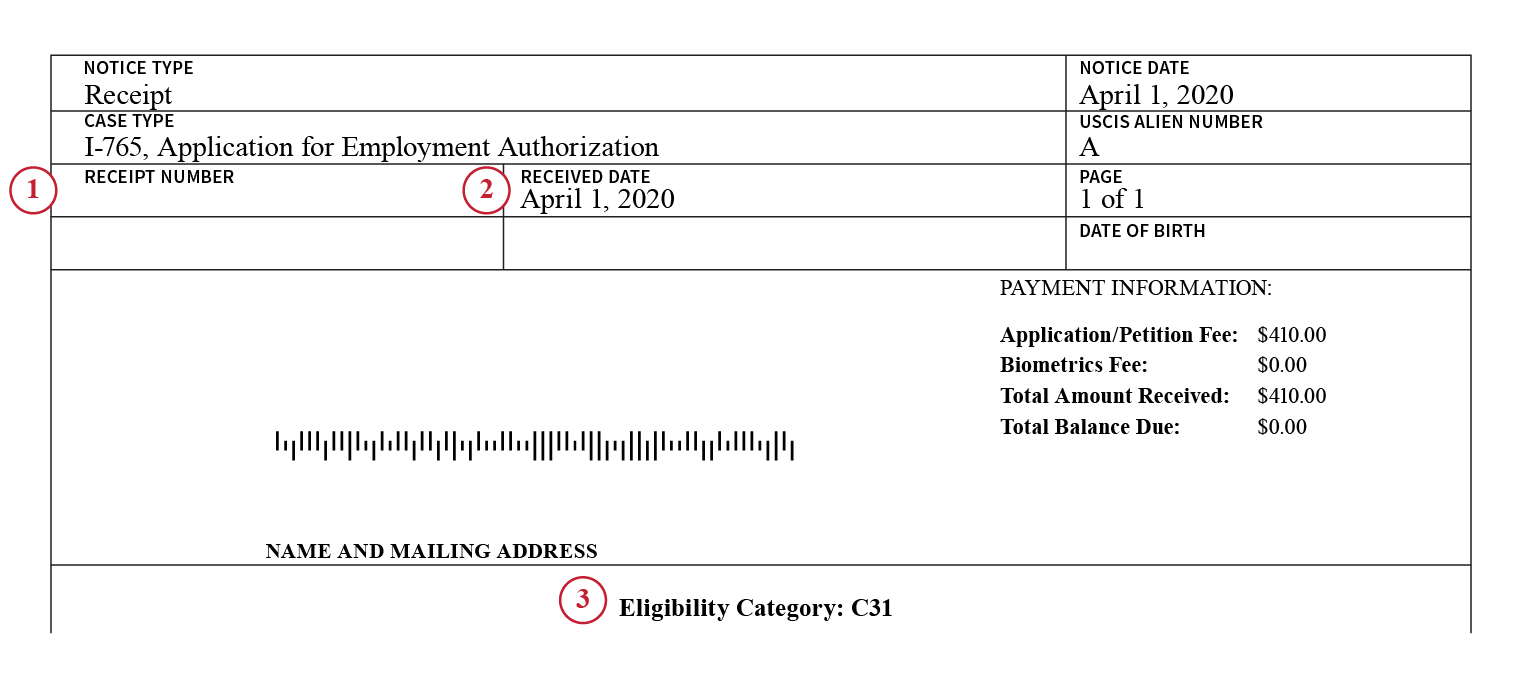 Image of a second version of Form I-797C, Notice of Action, indicating that a TPS beneficiary's Employment Authorization Document has been automatically extended. Image contains numbers that correlate with the guidance that follows.