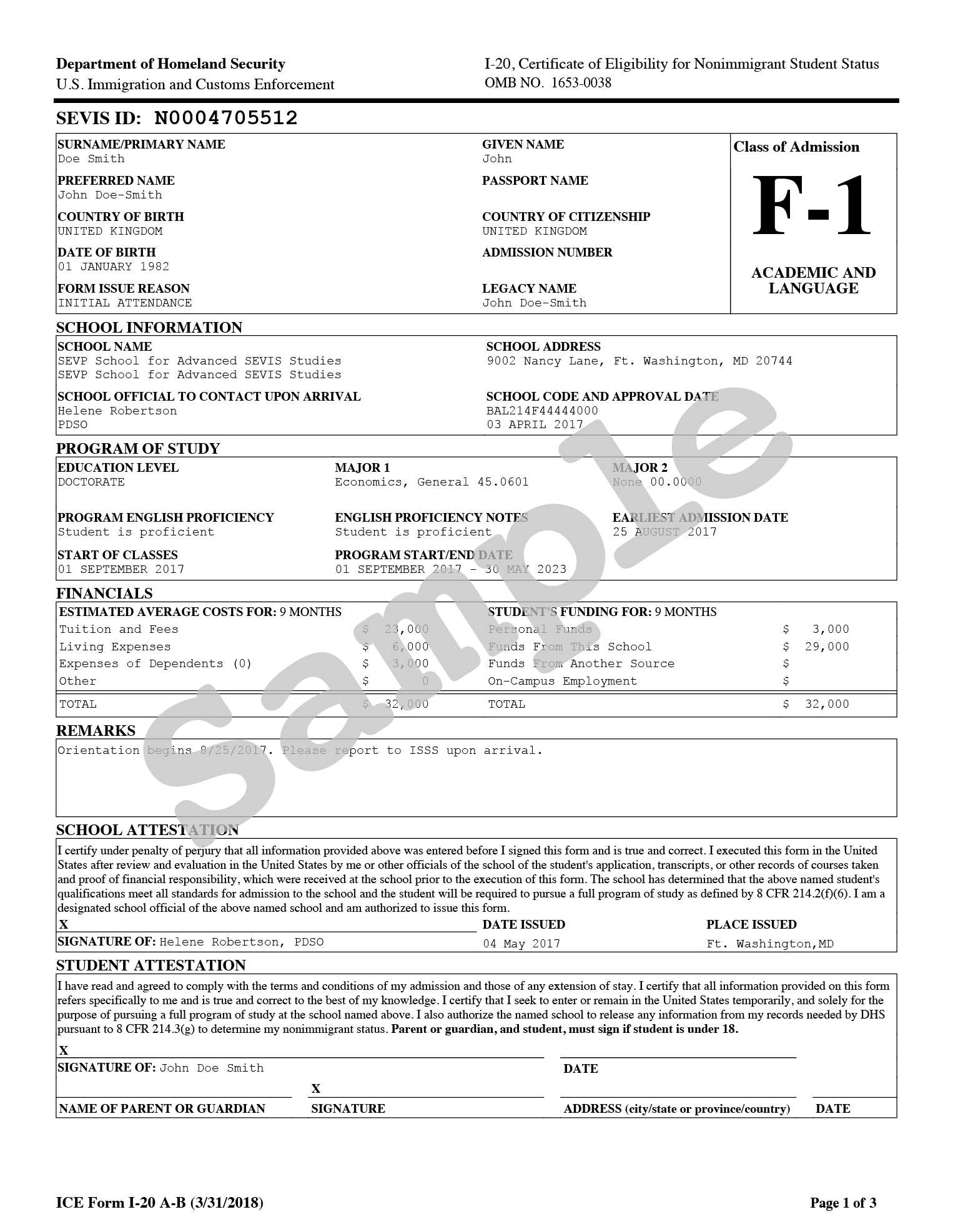 Sample image of form I-20, Certificate of Eligibility for Nonimmigrant Student Status