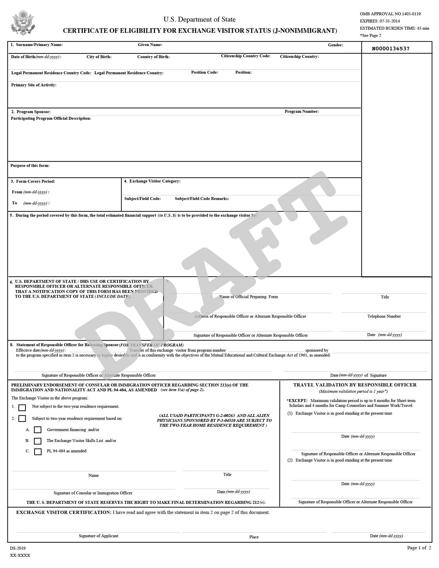 Image of DS-2019, Certificate of Eligibility for Exchange Visitor (J-1) Status