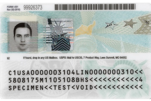 Image of the back of the current Permanent Resident Card