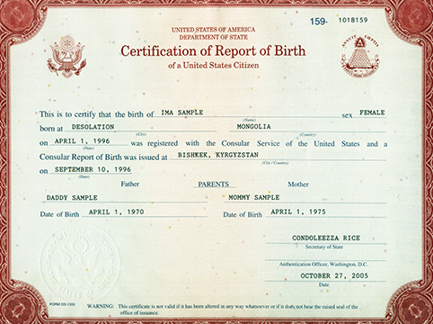 Image of a form DS-1350 Birth Abroad Certificate
