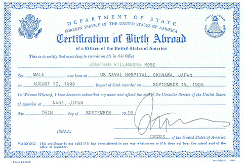 Image of Certificate of Birth Abroad FS 545