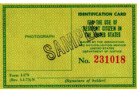 Image of a Form I-179, Identification Card for Use of Resident Citizen in the United States