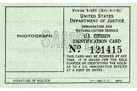 Sample of Form I-197, U.S. Citizen ID Card