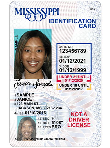 Picture of a State of Mississippi ID card
