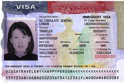 Sample US Visa page inside a foreign passport
