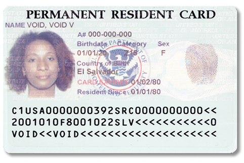 Image of Front of Older Permanent Resident Card