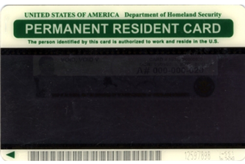 Image of back of older Permanent Resident Card