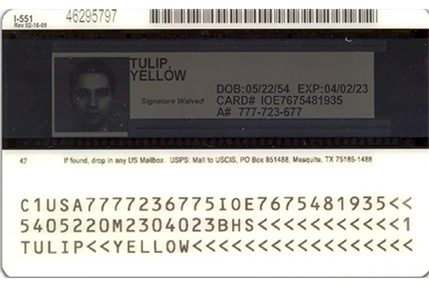 Image of the back of a current Permanent Resident Card with the signature waived