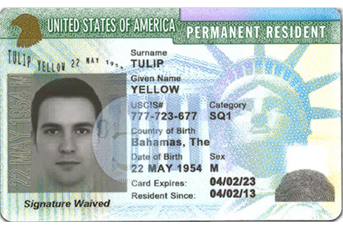 Image of the Front of a Permanent Resident Card with the signature waived