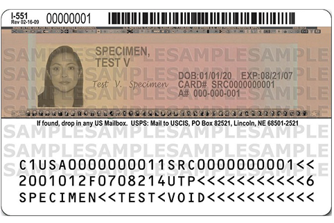 Sample Previous Permanent Resident Card back with signature