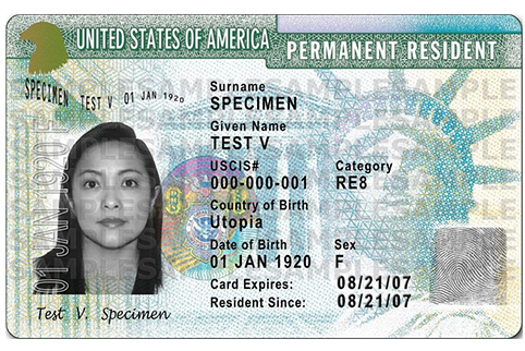 Sample front of previous Permanent Resident Card with signature