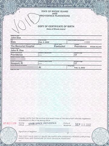 Image of a sample United States birth certificate