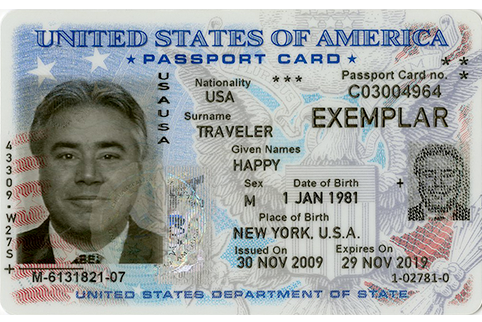 Front of Sample Passport Card