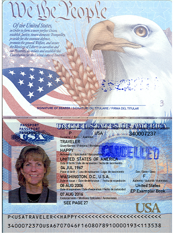 Picture of the inside of a US passport