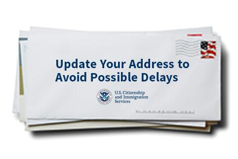 Picture of envelope with text Update your address to avoid possible delays