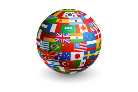 Globe covered by flags from around the world.