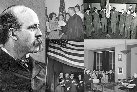 Historical images of explorers and naturalization ceremonies.