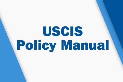 Image with blue triangles in the corners with the text USCIS Policy Manual